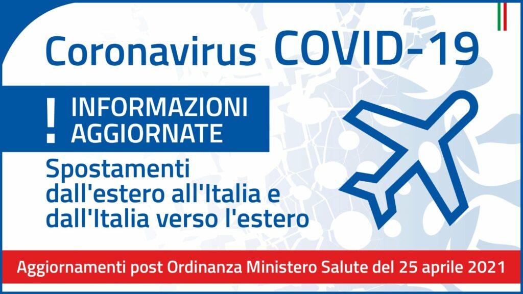 Aggiornamento delle misure che regolano l'ingresso in Italia da Paesi terzi, applicabili dal 27 aprile 2021.