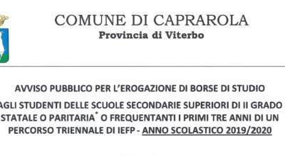 PROROGA AVVISO PUBBLICO PER L'EROGAZIONE DI BORSE DI STUDIO 2019/2020