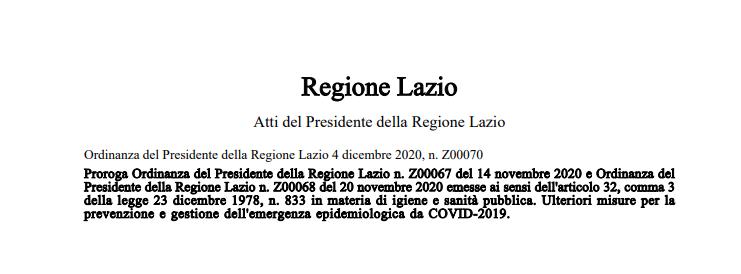 Regione Lazio_Ordinanza Z00070 del 04/12/2020