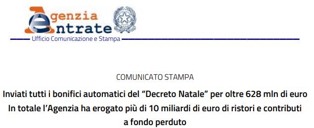Agenzia delle Entrate_Comunicato stampa 09/01/2021