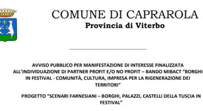 """Avviso pubblico per manifestazione d'interesse Bando """"Borghi in Festival"""""""