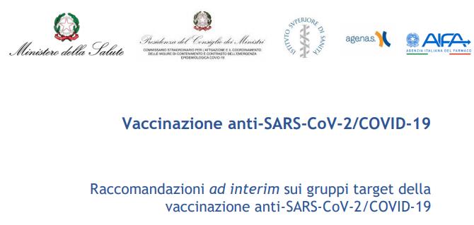 Raccomandazioni ad interim sui gruppi target della vaccinazione anti-SARS-CoV-2/COVID-19