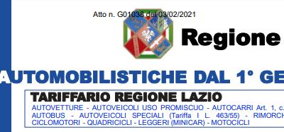Regione Lazio tariffario tasse automobilistiche