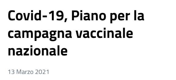 Piano per la campagna vaccinale nazionale