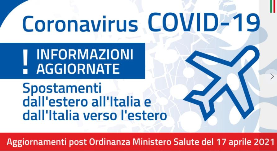 Ministero della Salute – Ordinanza Misure che regolano gli ingressi in Italia da paesi terzi