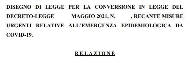 Decreto Legge – 18/05/2021