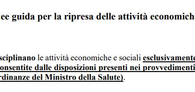 Conferenza delle Regioni – Linee guida per la ripresa delle attività economiche e sociali