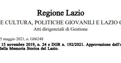 Regione Lazio – Avviso pubblico Valorizzazione della Memoria Storica del Lazio