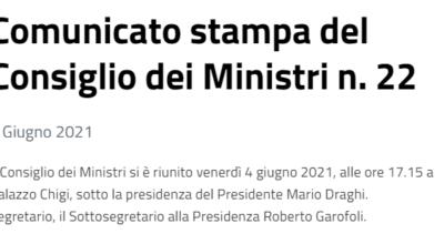 Consiglio dei Ministri 04/06/2021