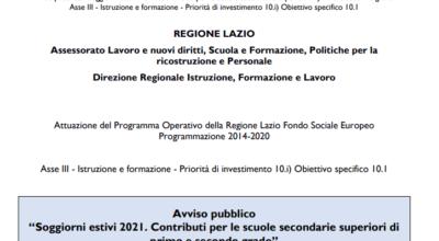"""Regione Lazio – Avviso Pubblico """"Soggiorni estivi 2021. Contributi per le scuole secondarie superiori di primo e secondo grado"""""""